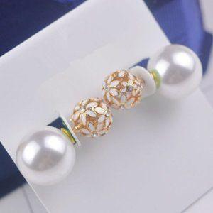 Diamond Hollow Flower Pearl Asymmetric Earrings